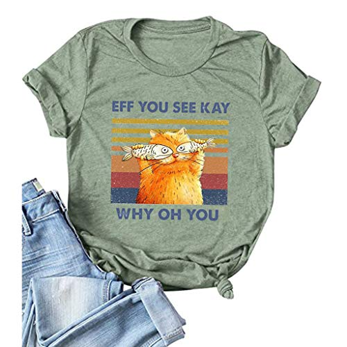 Eff You See Kay Why Oh You Shirt Cat Fish Funny Print T-Shirt Womens Short Sleeve Cotton Tees Tops...