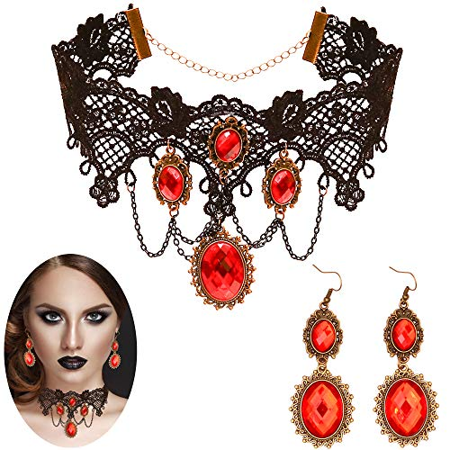 Skeleteen Gothic Vampire Jewelry Set - Black Lace Choker with Red Rhinestone Earrings Pirate Costume...