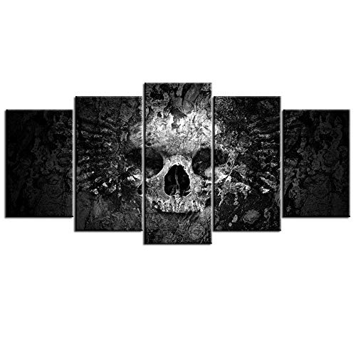 Nachic Wall 5 Piece Canvas Wall Art Black and White Skull Painting on Canvas Abstract Halloween Day...