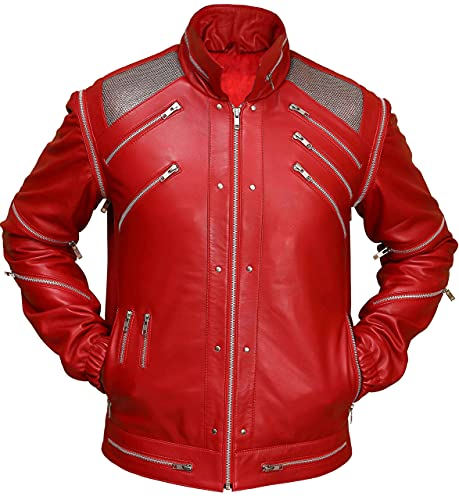 Beat it Men's Red PU Leather Jacket - Fast Shipping (XX-Small)