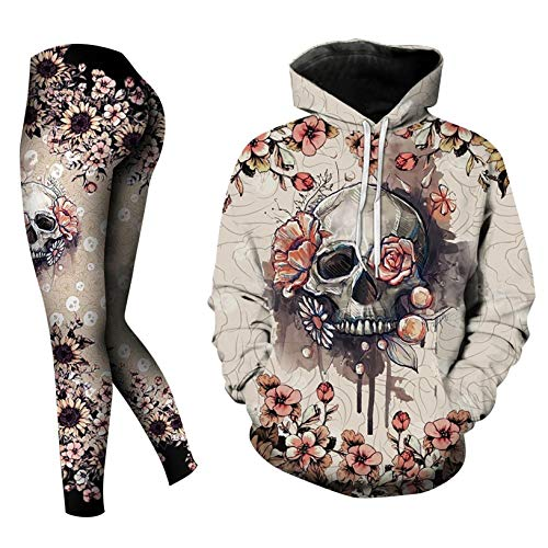 Wedday Skull Halloween Plus Size Winter Workout Sets for Women 2 Piece Tops Hoodie and Leggings...