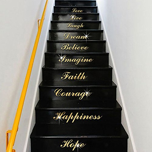 cobkk Acrylic Silver Mirror Effect Quote Word Art Stair Decals Wall Sticker Home Decor Home Bedroom...