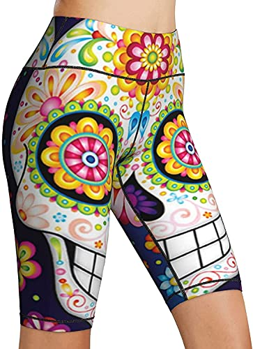 Sugar Skull Colorful Day of The Dead Art High Waist Yoga Pants Tummy Control Workout Running...