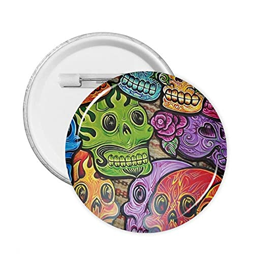 Decorate Buttons Colorful Skull Badges Pinsbrooches Craft Supplies Round Pack Button