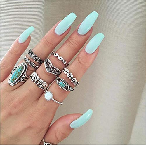 Cathercing 9 Pcs Turquoise Ring Set for Women Knuckle Vintage Rings Pack for Women Girls Bohemian...