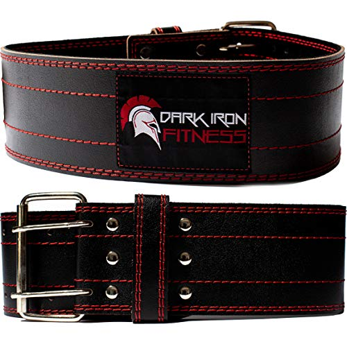 Dark Iron Fitness Weight Lifting Belt for Men & Women - 100% Leather Belts, Adjustable Back Support...