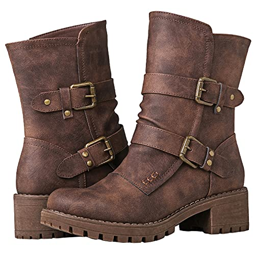 GLOBALWIN Fashion Ankle Boots for Women Brown 8M