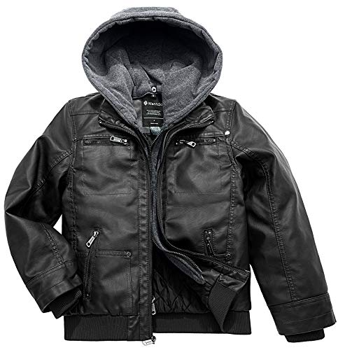 Wantdo Boy's Leather motorcycle Pilot Jackets Windproof Coats Zip Up Hoodie Black Thick US 14/16