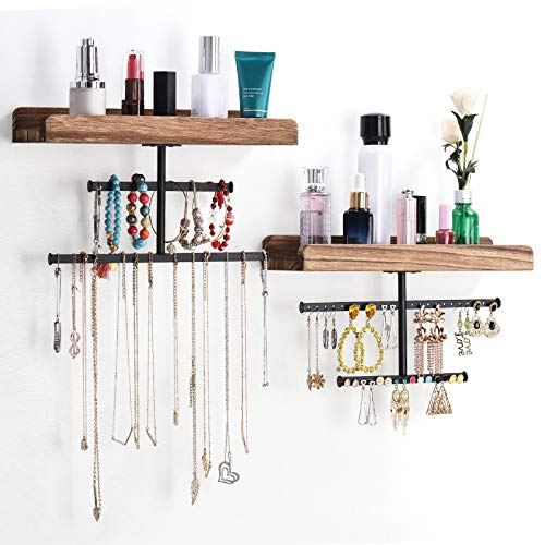 Keebofly Hanging Wall Mounted Jewelry Organizer with Rustic Wood Jewelry Holder Display for...