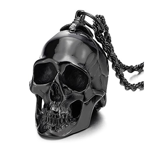 COOLSTEELANDBEYOND Stainless Steel LARGE Black Skull Pendant Necklace for Men High Polished with 30...