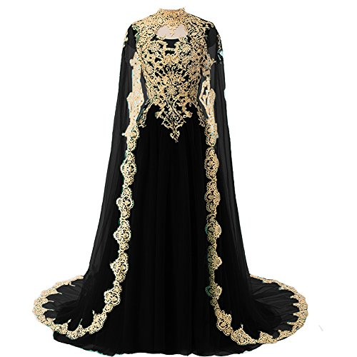 Plus Size Gold Lace Vintage Long Prom Evening Dress Wedding Gown with Cape Red US 22W