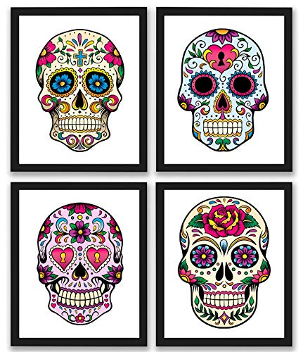 Sugar Skull Decor Art Prints | Set of 4 Photos 8x10 Unframed | Mexican Day of The Dead Gift
