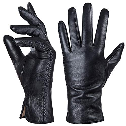 Genuine Sheepskin Leather Gloves For Women, Winter Warm Touchscreen Texting Cashmere Lined Driving...