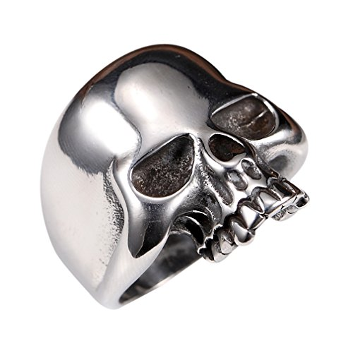 Stainless Steel Men's Cool Skull Head Solid Ring Punk New