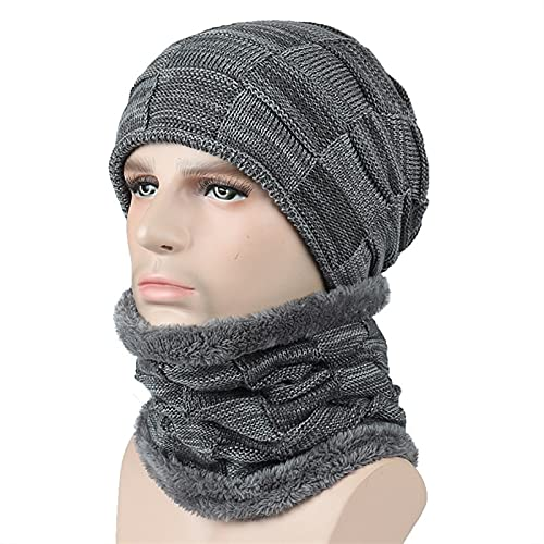 XMSM 2Pcs/Set Winter Beanie Hat Scarf Set for Men, Thicken Knitted Soft Plush Lining Sports Beanie...