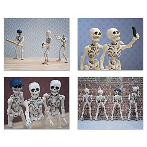 Hipster Skeleton Wall Art Decor - Set of 4 (8x10) Funny Hipster Skull and Bones Poster Photos -...