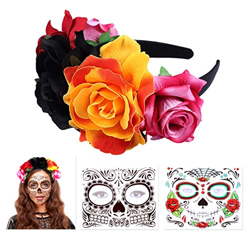 FRCOLOR Day of The Dead Headband, Rose Mexican Flower Headband Headpiece with 2Pcs Halloween...