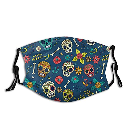 Funny Floral Sugar Skull Face Mask Scarf, Mouth|Face Coverreusable Washable With Filters,for...