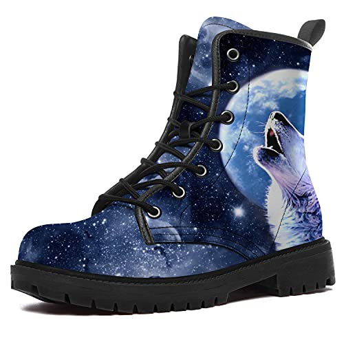 Wolf Boots for Women Men Waterproof High Top Boots Blue White Howling Wolf Boots Durable Non-Slip...