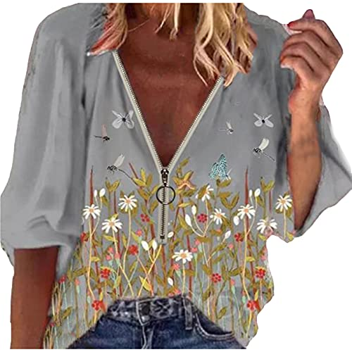 Summer Women Vintage V-Neck Shirt Casual Loose Top Trendy Butterfly Graphic Blouse Short Sleeve...