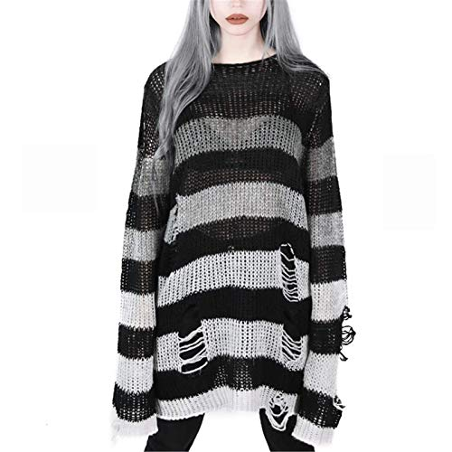 Punk Gothic Long Sweater for Women Hollow Out Hole Broken Jumper Loose Tops (Blackwhite, One Size)