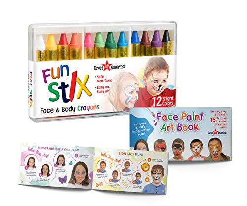 Dress-Up-America Face Paint Crayons - With Artbook & Easy To Follow Facepainting Designs -Safe...