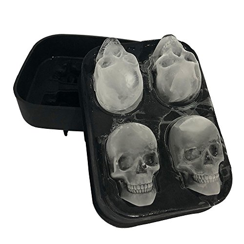 Stritra - 3D Skull Silicone jello Ice Mold Flexible Cube Maker Tray for Christmas Party. Best for...