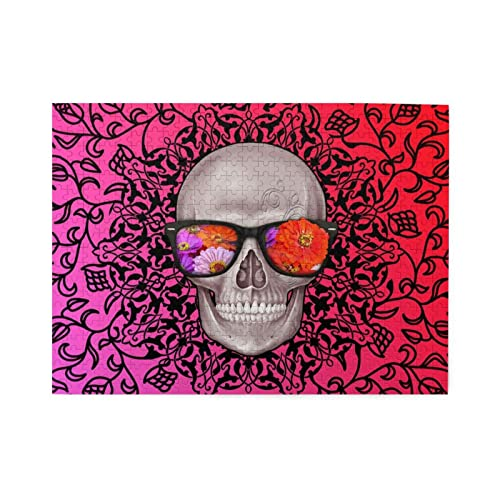 Skull Wearing Glasses Jigsaw Puzzles500 Pieces Jigsaw Puzzle for Adults Kids 3D Best Gift for...