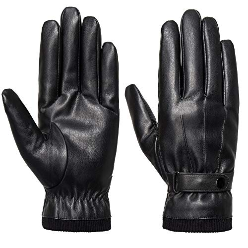 SANKUU Men's Winter Black Gloves Leather Touchscreen Snap Closure Cycling Glove Outdoor Riding Warm...