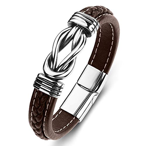 Stainless Steel Genuine leather Bracelet for Men Wristband Cuff Bangle Bracelets Magnetic Clasp...