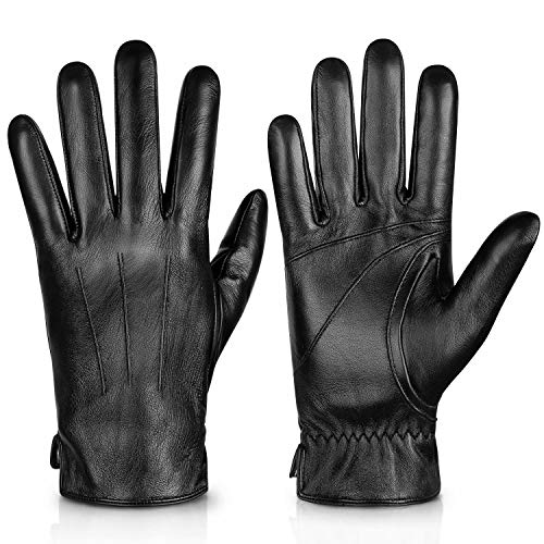 Genuine Sheepskin Leather Gloves For Men, Winter Warm Touchscreen Texting Cashmere Lined Driving...