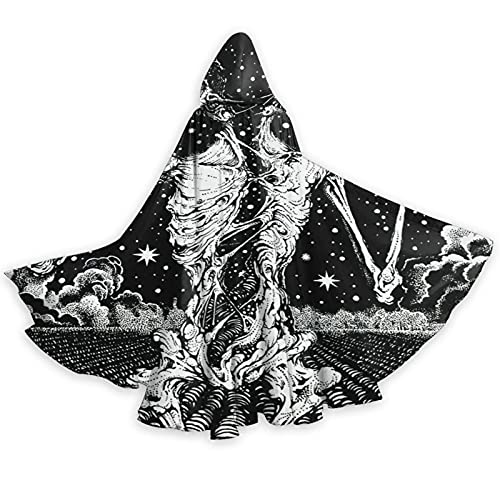 srufqsi Smoking and Drinking Skull Hooded Cape Outerwear Halloween Cosplay Costume Cloak for Women...