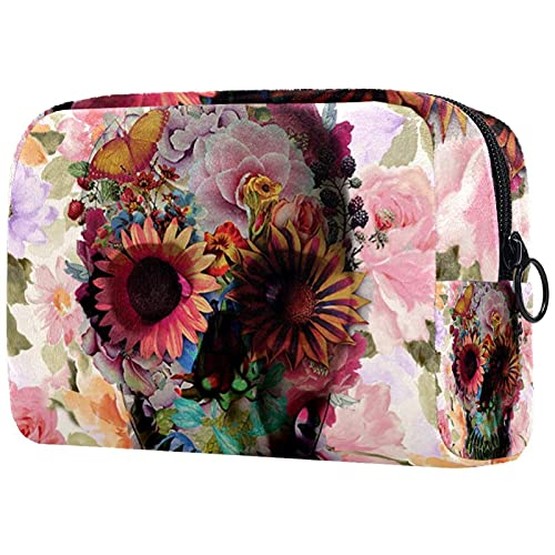 Makeup Cosmetic Bag Coin Purse Travel Cosmetic Pouch Toiletry Bag floral skull