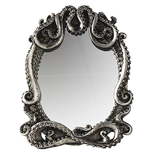 Gothic Mirror Home Accent Décor, Kraken Antique Inspired Silver Tone Hand Finished Framed Steampunk...