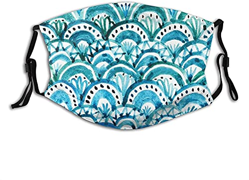 Hawaii Face Mask Scarf Breathable Reusable,Washable Cloth Masks Balaclava with 2-Pcs Filters for...