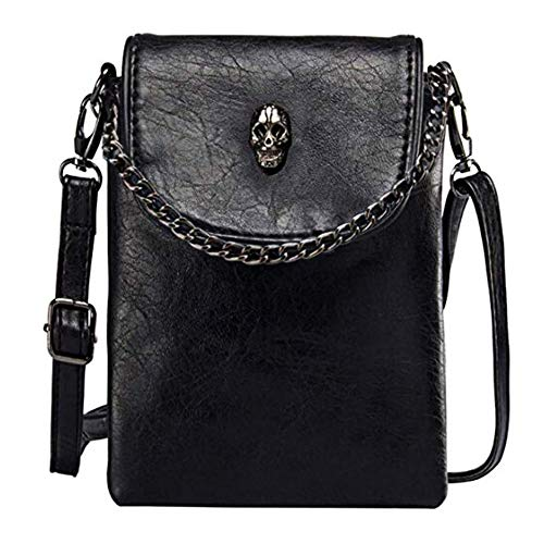 Small Crossbody Cell Phone Purse -Vintage Skull Bag Gothic Purse Shoulder Bag for Women, Leather...