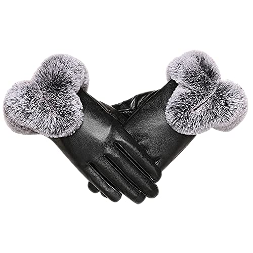 LSAMA Warm Winter Leather Gloves Fleece Lining Thermal Fur Cuffs - Full-hand Touchscreen Gloves...