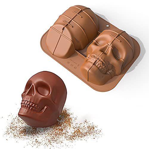 kjhgk Silicone Large Skull Head Cake Mold DIY Handicraft Mold, Cookie Pastry Pies Cake Pudding...