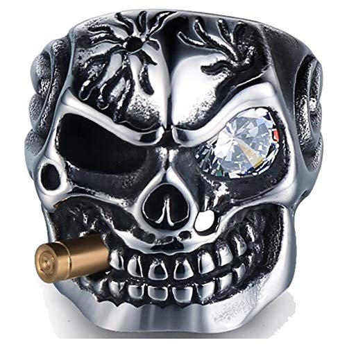 Vintage Stainless Steel Gothic Skull Smoking Bullet Biker Cocktail Party Ring (Clear Stone, 10)