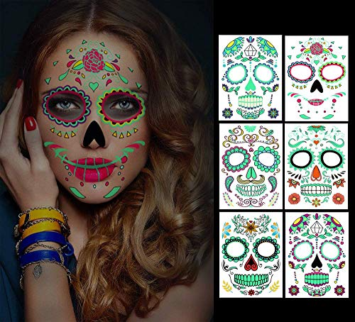 Temporary Face Tattoos, 6 sheets Day of the Dead Decorations Glow in The Dark,Sugar Skull Stickers...