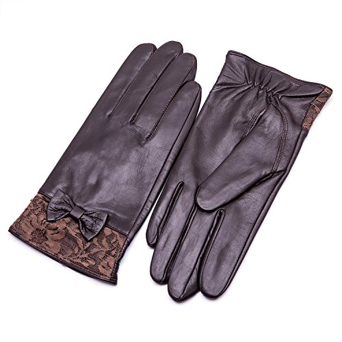 YISEVEN Women's Sheepskin Winter Driving Genuine Leather Gloves Lace Bow Cuff Touchscreen Texting...