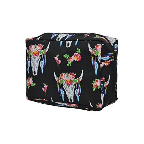 NGIL Large Travel Cosmetic Pouch Bag Spring 2018 Collection (Bull Skull Black)