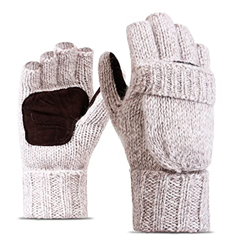 Kyiduo Winter Knitted Fingerless Gloves Wool Warm Mitten Glove Convertible Mittens Flap Cover for...