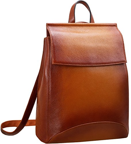 Heshe Womens Genuine Leather Backpack Casual Style Flap Backpacks Daypack for Ladies (Sorrel)