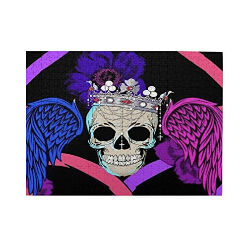 Guhire Wooden Puzzles 500 Pieces,Angel Skull Jigsaw Puzzles for Adults Children,Educational Toy DIY...