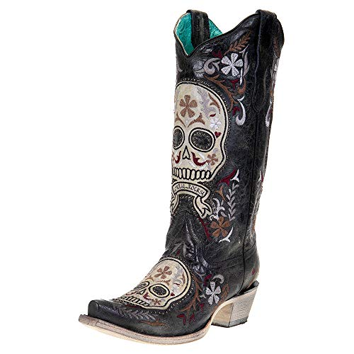 Corral Ld Black / White Skull Overlay & Embroidery & Studs ,Size 8