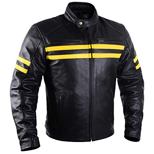 Motorcycle Leather Jackets For Men Black Moto Riding Racing Cafe Racer Retro Biker Jacket CE Armored...