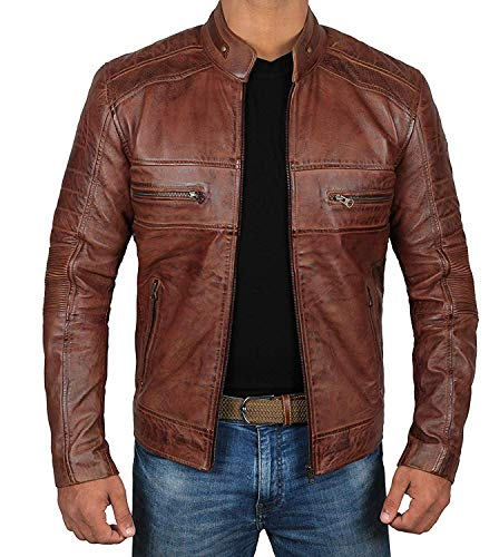 Brown Moto Leather Jacket Mens - Quilted Men lambskin Leather Jackets | [1100064] Austin Brown, L