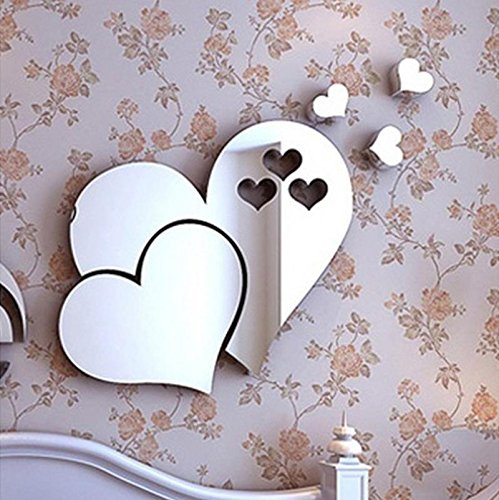 cobkk 3D Mirror Love Hearts Wall Sticker Decal DIY Home Room Art Mural Decor Removable Home Bedroom...