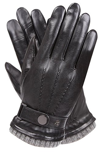 Men's Texting Touchscreen Winter Warm Sheepskin Leather Daily Dress Driving Gloves Wool/Cashmere...